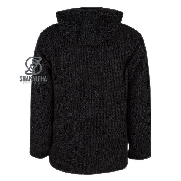 Shakaloha Shakaloha Knitted Woolen Jacket Maverick ZH Anthracite with Fleece Lining and Detachable Hood - Men - Unisex - Handmade in Nepal from sheep's wool