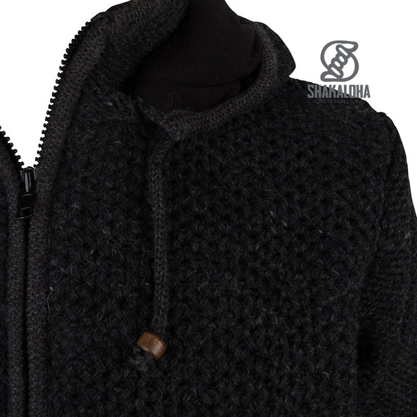 Shakaloha Shakaloha Wolljacke - Strickjacke Maverick ZH Anthrazit mit Fleece-Futter und Abnehmbarer Kapuze - Herren - Uni - Handgemacht in Nepal aus Schafwolle