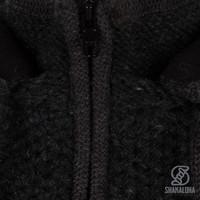 Shakaloha Shakaloha Veste en Laine Tricoté Maverick ZH Anthracite avec Doublure en polaire et Capuche détachable - Hommes - Uni - Fabriqué à la main au Népal en laine de mouton