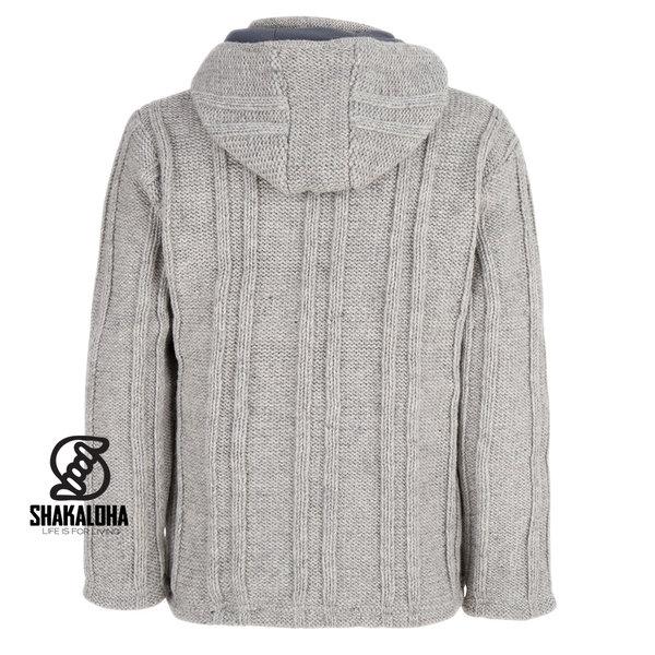Shakaloha Shakaloha Gebreid Wollen Vest Plata ZH Grijs met Fleece Voering en Afneembare Capuchon - Man/Uni - Handgemaakt in Nepal van Schapenwol