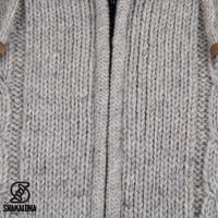 Shakaloha Shakaloha Wolljacke - Strickjacke Plata ZH Grau mit Fleece-Futter und Abnehmbarer Kapuze - Herren - Uni - Handgemacht in Nepal aus Schafwolle