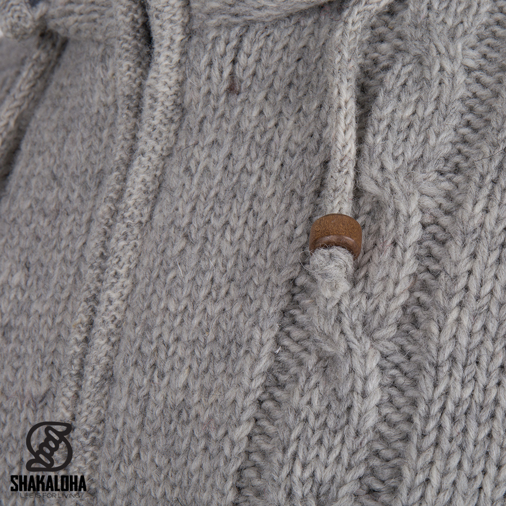 Shakaloha Shakaloha Veste en Laine Tricoté Plata ZH gris avec Doublure en polaire et Capuche détachable - Hommes - Uni - Fabriqué à la main au Népal en laine de mouton