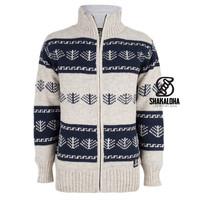 Shakaloha Shakaloha Knitted Woolen Jacket Pine Beige Cream with Cotton Lining and Detachable Hood - Men - Unisex - Handmade in Nepal from sheep's wool