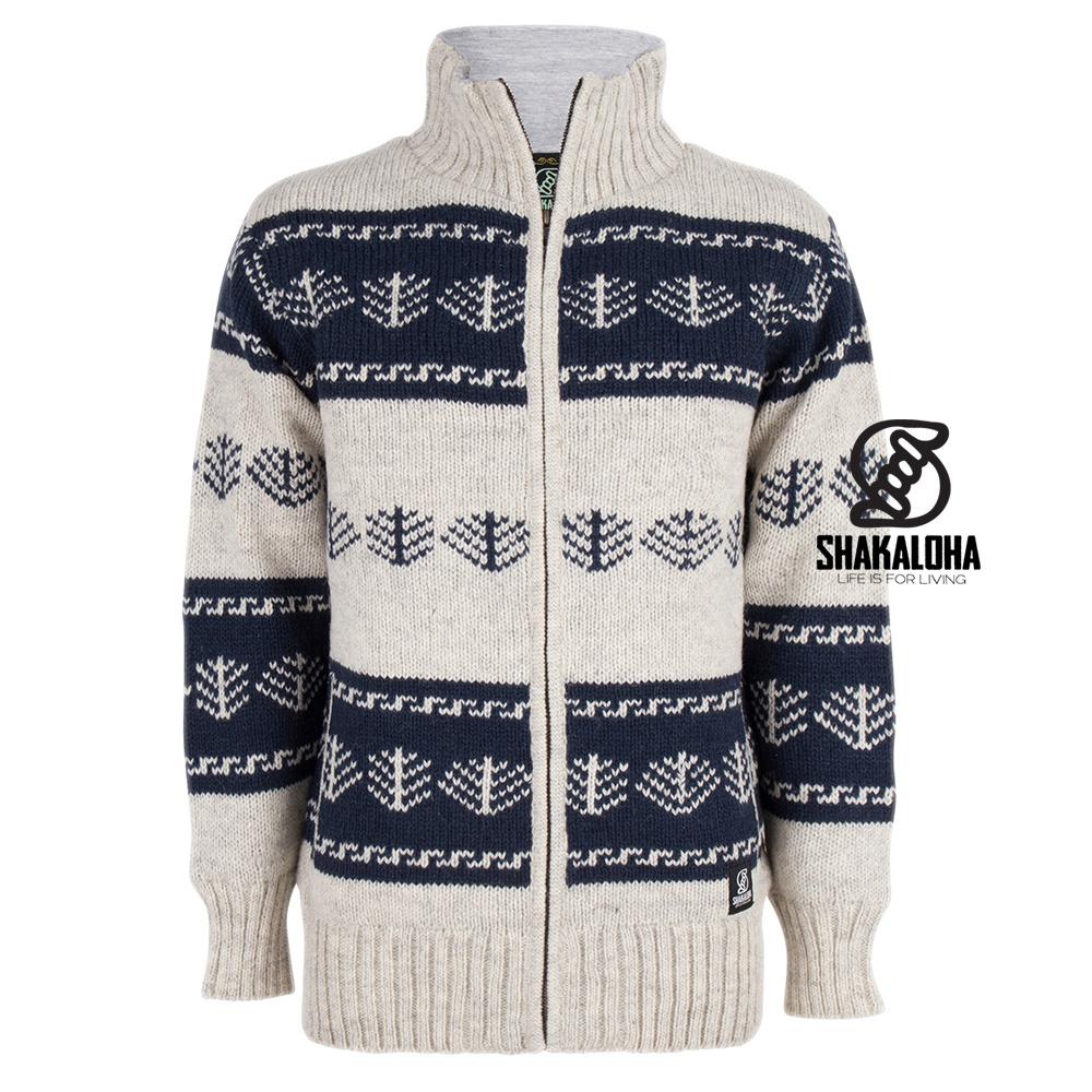 Shakaloha Shakaloha Gebreid Wollen Vest Pine Beige Crème met Katoenen Voering en hoge kraag  - Man/Uni - Handgemaakt in Nepal van Schapenwol
