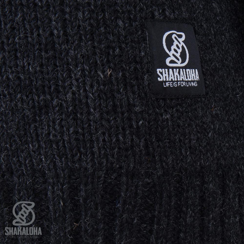 Shakaloha Shakaloha Wolljacke - Strickjacke Verge Anthrazit mit Baumwollfutter und hohem Kragen - Herren - Uni - Handgemacht in Nepal aus Schafwolle