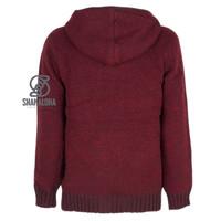 Shakaloha Shakaloha Knitted Woolen Jacket Boulder Wine red with Cotton Lining and Hood - Men - Unisex - Handmade in Nepal from sheep's wool