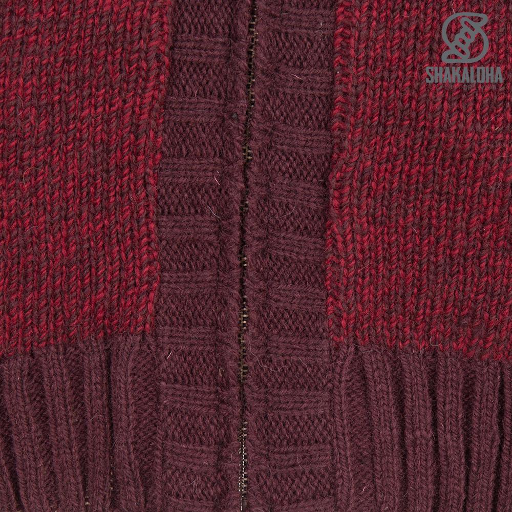 Shakaloha Shakaloha Veste en Laine Tricoté Boulder Vin rouge avec Doublure en coton et Capuche - Hommes - Uni - Fabriqué à la main au Népal en laine de mouton