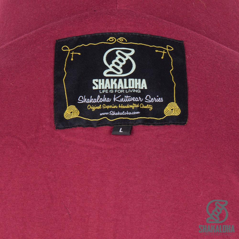 Shakaloha Shakaloha Wolljacke - Strickjacke Boulder Weinrot mit Baumwollfutter und Kapuze - Herren - Uni - Handgemacht in Nepal aus Schafwolle