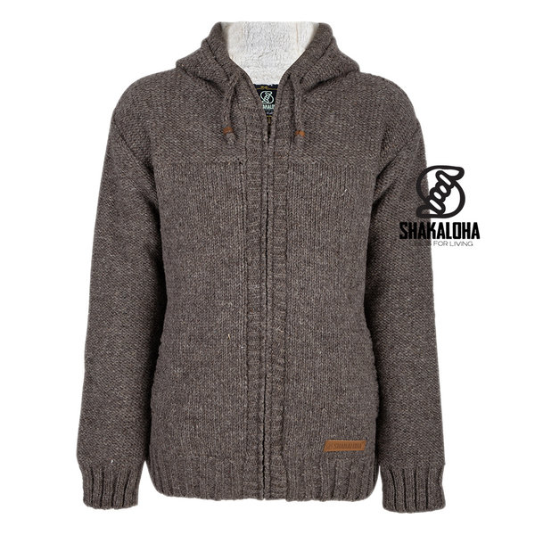 Shakaloha Shakaloha Knitted Woolen Jacket Chamonix Light Brown Taupe with Teddy Lining and Hood - Men - Unisex - Handmade in Nepal from sheep's wool