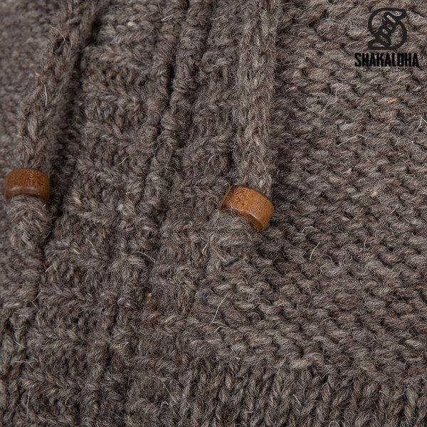 Shakaloha Shakaloha Veste en Laine Tricoté Chamonix Taupe marron clair avec Doublure en Peluche et Capuche - Hommes - Uni - Fabriqué à la main au Népal en laine de mouton