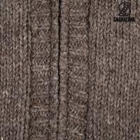 Shakaloha Shakaloha Gebreid Wollen Vest Chamonix Licht Bruin Taupe met Teddy Fleece Voering en Capuchon - Man/Uni - Handgemaakt in Nepal van Schapenwol