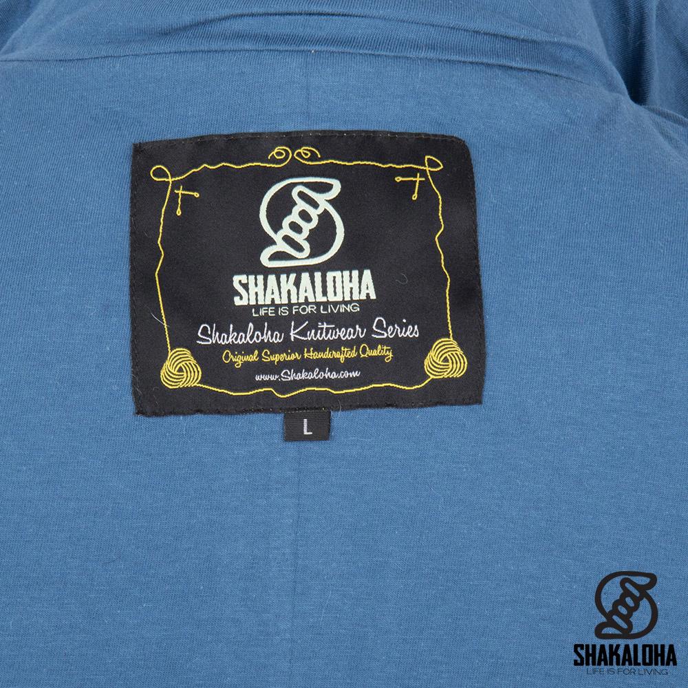 Shakaloha Shakaloha Wolljacke - Strickjacke Baseball ZH Hellblau mit Baumwollfutter und Abnehmbarer Kapuze - Damen - Handgemacht in Nepal aus Schafwolle