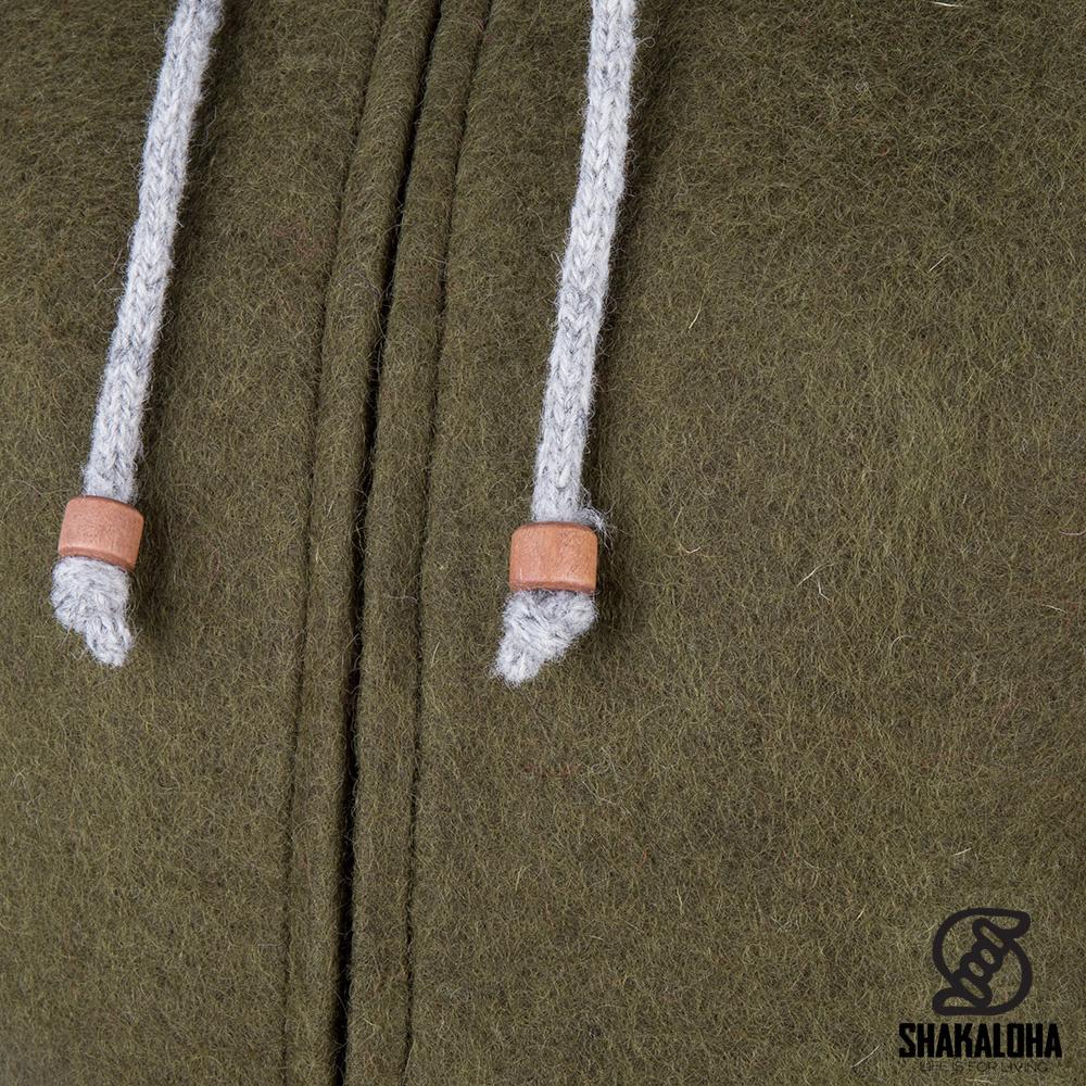 Shakaloha Shakaloha Veste en Laine Tricoté Baseball ZH Couleur olive avec Doublure en coton et Capuche détachable - Femmes - Fabriqué à la main au Népal en laine de mouton