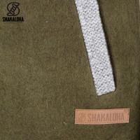 Shakaloha Shakaloha Wolljacke - Strickjacke Baseball ZH Olivgrüne Farbe mit Baumwollfutter und Abnehmbarer Kapuze - Damen - Handgemacht in Nepal aus Schafwolle
