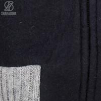 Shakaloha Shakaloha Wolljacke - Strickjacke Baseball ZH Schwarz mit Baumwollfutter und Abnehmbarer Kapuze - Damen - Handgemacht in Nepal aus Schafwolle