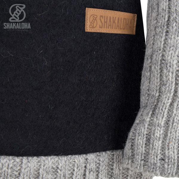Shakaloha Shakaloha Knitted Woolen Jacket Baseball ZH  with Cotton Lining and Detachable Hood - Woman - Handmade in Nepal from sheep's wool