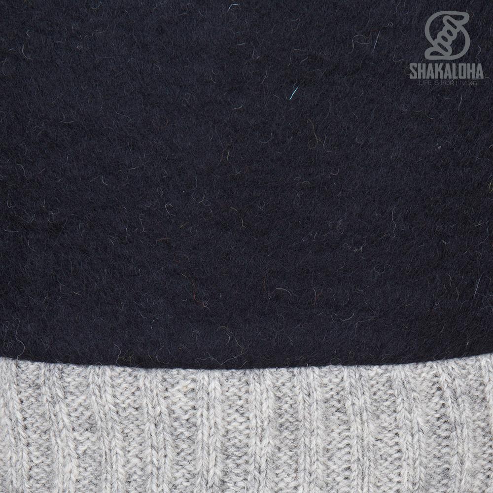 Shakaloha Shakaloha Veste en Laine Tricoté Baseball ZH Noir avec Doublure en coton et Capuche détachable - Femmes - Fabriqué à la main au Népal en laine de mouton