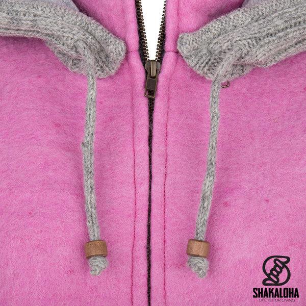 Shakaloha Shakaloha Knitted Woolen Jacket Baseball ZH Pink with Cotton Lining and Detachable Hood - Woman - Handmade in Nepal from sheep's wool