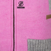 Shakaloha Shakaloha Wolljacke - Strickjacke Baseball ZH Rosa mit Baumwollfutter und Abnehmbarer Kapuze - Damen - Handgemacht in Nepal aus Schafwolle