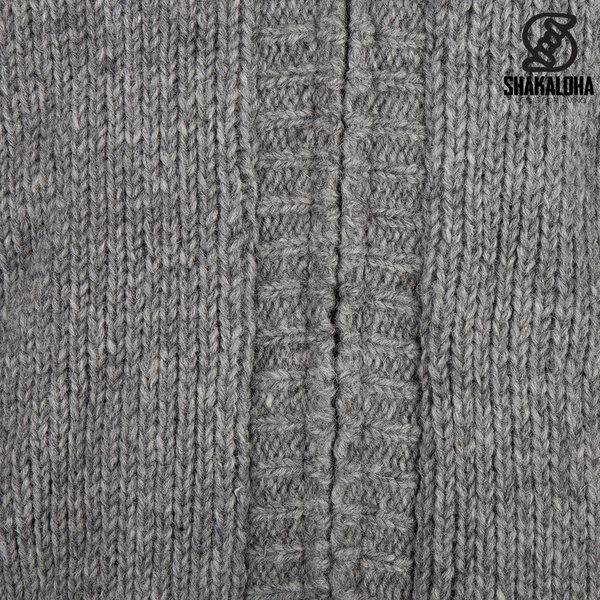 Shakaloha Shakaloha Veste en Laine Tricoté Chamonix gris avec Doublure en Peluche et Capuche - Hommes - Uni - Fabriqué à la main au Népal en laine de mouton