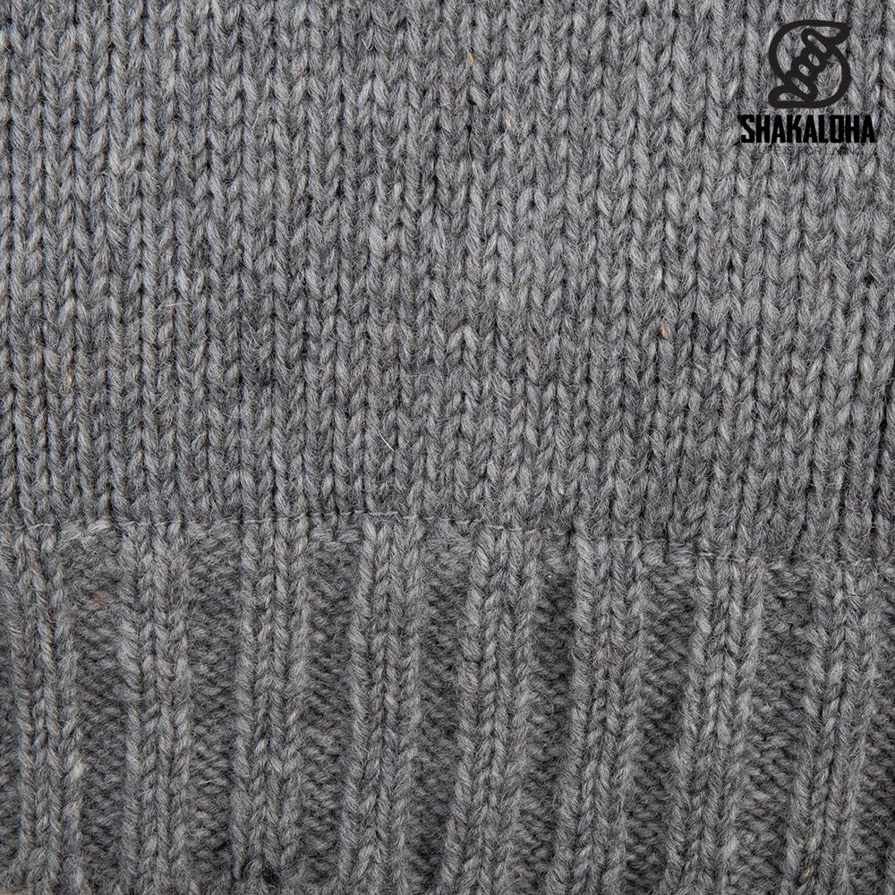 Shakaloha Shakaloha Wolljacke - Strickjacke Chamonix Grau mit Teddy Futter und Kapuze - Herren - Uni - Handgemacht in Nepal aus Schafwolle