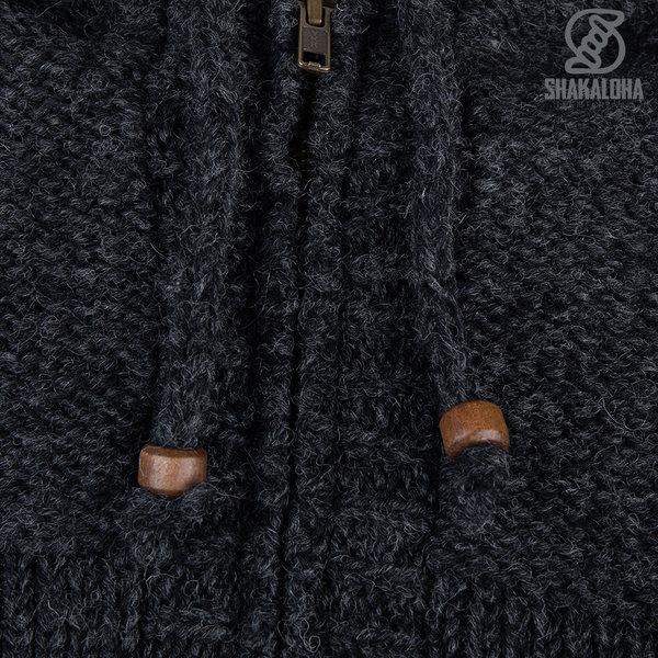 Shakaloha Shakaloha Veste en Laine Tricoté Chamonix Anthracite avec Doublure en Peluche et Capuche - Hommes - Uni - Fabriqué à la main au Népal en laine de mouton