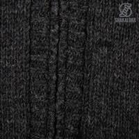 Shakaloha Shakaloha Gebreid Wollen Vest Chamonix Antraciet met Teddy Fleece Voering en Capuchon - Man/Uni - Handgemaakt in Nepal van Schapenwol