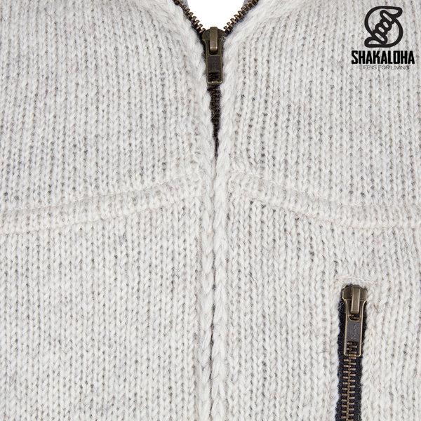 Shakaloha Shakaloha Veste en Laine Tricoté Vista ZH Crème beige avec Doublure en coton et Capuche détachable - Hommes - Uni - Fabriqué à la main au Népal en laine de mouton