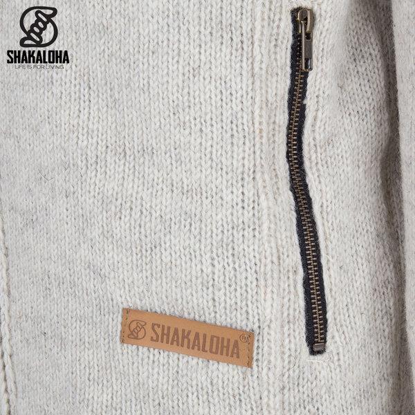 Shakaloha Shakaloha Gebreid Wollen Vest Vista ZH Beige Crème met Katoenen Voering en Afneembare Capuchon - Man/Uni - Handgemaakt in Nepal van Schapenwol