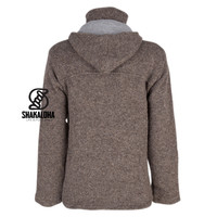 Shakaloha Shakaloha Knitted Woolen Jacket Vista ZH Light Brown Taupe with Cotton Lining and Detachable Hood - Men - Unisex - Handmade in Nepal from sheep's wool
