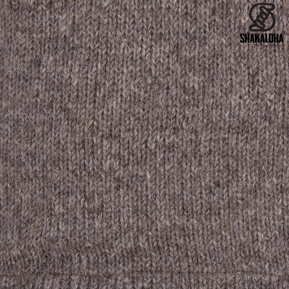 Shakaloha Shakaloha Gebreid Wollen Vest Vista ZH Licht Bruin Taupe met Katoenen Voering en Afneembare Capuchon - Man/Uni - Handgemaakt in Nepal van Schapenwol