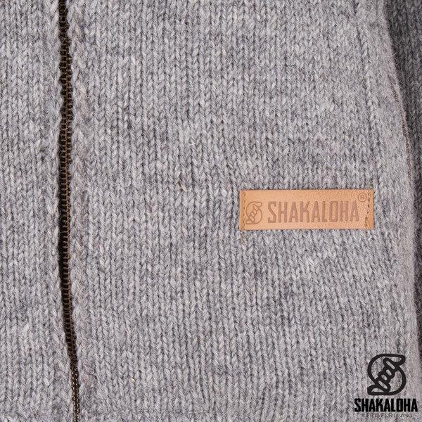 Shakaloha Shakaloha Knitted Woolen Jacket Vista ZH Gray with Cotton Lining and Detachable Hood - Men - Unisex - Handmade in Nepal from sheep's wool