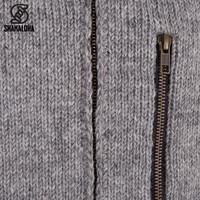 Shakaloha Shakaloha Gebreid Wollen Vest Vista ZH Grijs met Katoenen Voering en Afneembare Capuchon - Man/Uni - Handgemaakt in Nepal van Schapenwol