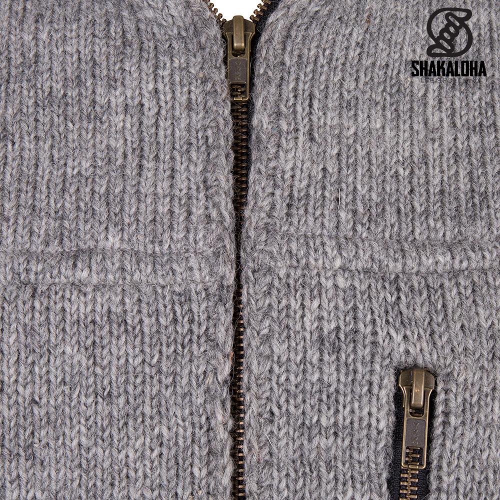 Shakaloha Shakaloha Veste en Laine Tricoté Vista ZH gris avec Doublure en coton et Capuche détachable - Hommes - Uni - Fabriqué à la main au Népal en laine de mouton