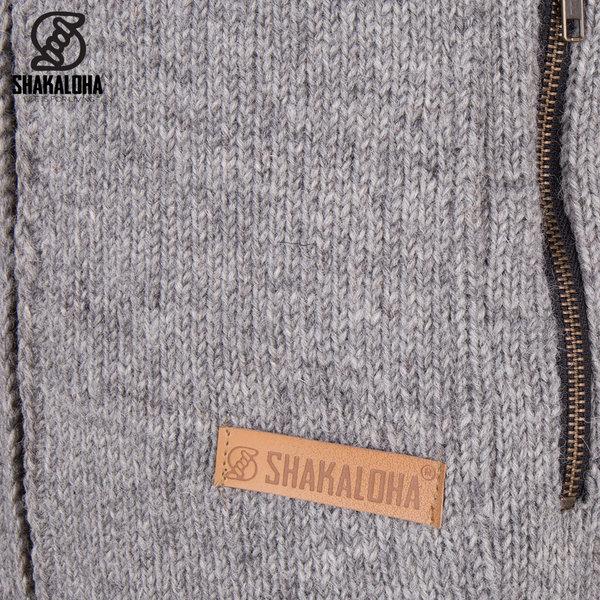 Shakaloha Shakaloha Wolljacke - Strickjacke Vista ZH Grau mit Baumwollfutter und Abnehmbarer Kapuze - Herren - Uni - Handgemacht in Nepal aus Schafwolle