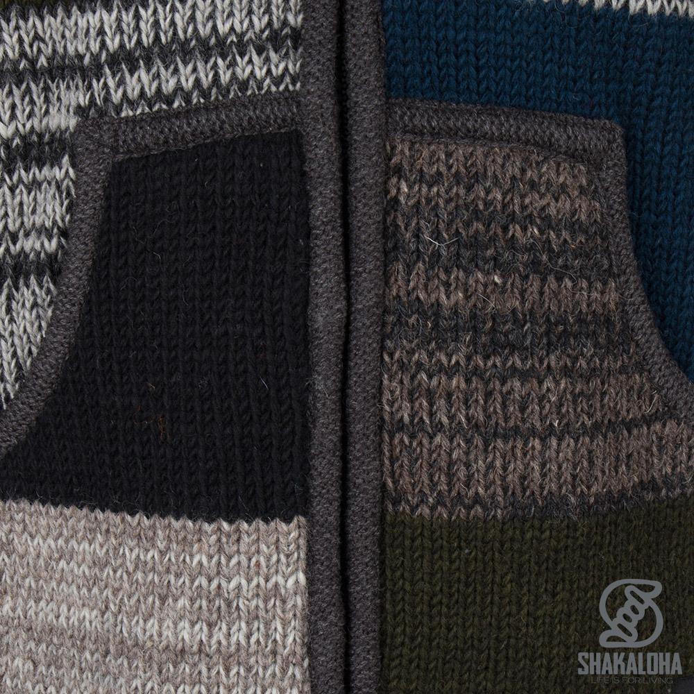 Shakaloha Shakaloha Wolljacke - Strickjacke Patch ZH Bunt gefärbt mit Fleece-Futter und Abnehmbarer Kapuze - Herren - Uni - Handgemacht in Nepal aus Schafwolle