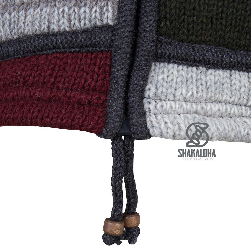 Shakaloha Shakaloha Veste en Laine Tricoté Patch ZH Couleurs vives avec Doublure en polaire et Capuche détachable - Hommes - Uni - Fabriqué à la main au Népal en laine de mouton