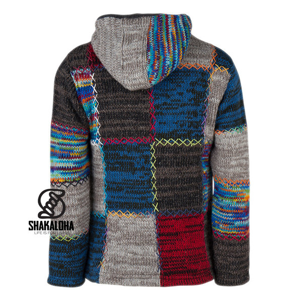 Shakaloha Shakaloha Gebreid Wollen Vest Patch ZH  met Fleece Voering en Afneembare Capuchon - Man/Uni - Handgemaakt in Nepal van Schapenwol