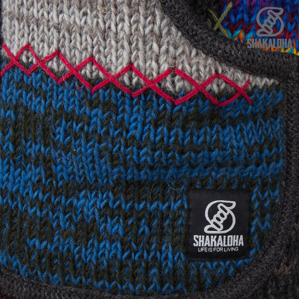 Shakaloha Shakaloha Knitted Woolen Jacket Patch ZH  with Fleece Lining and Detachable Hood - Men - Unisex - Handmade in Nepal from sheep's wool
