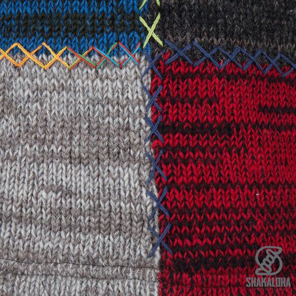 Shakaloha Shakaloha Wolljacke - Strickjacke Patch ZH Bunt mit Fleece-Futter und Abnehmbarer Kapuze - Herren - Uni - Handgemacht in Nepal aus Schafwolle
