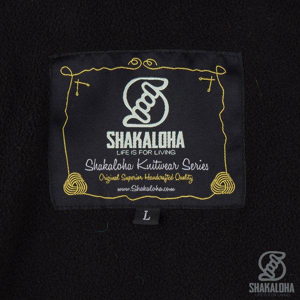 Shakaloha Shakaloha Veste en Laine Tricoté Patch ZH Panaché avec Doublure en polaire et Capuche détachable - Hommes - Uni - Fabriqué à la main au Népal en laine de mouton
