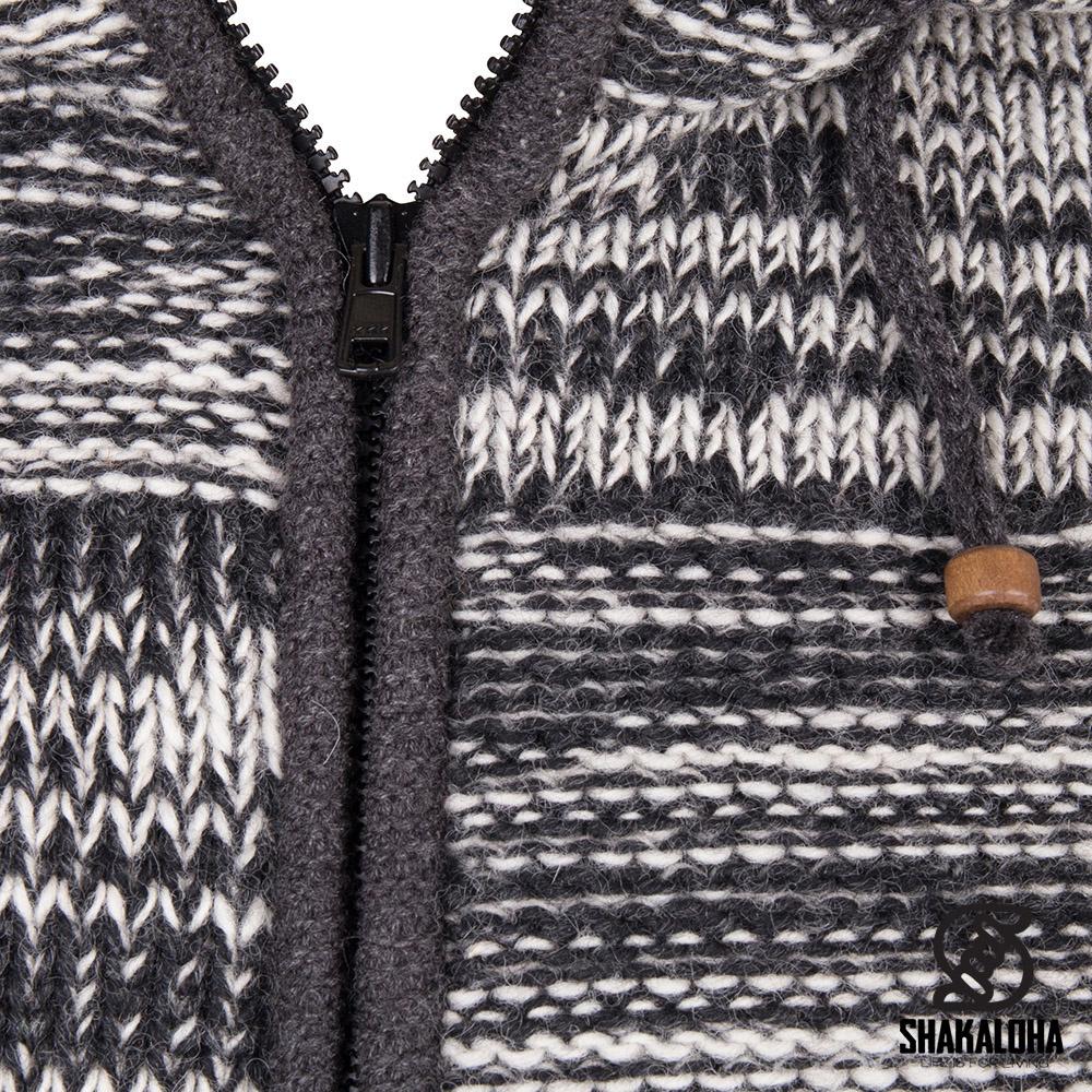 Shakaloha Shakaloha Wolljacke - Strickjacke Buster ZH Anthrazitbeige mit Fleece-Futter und Abnehmbarer Kapuze - Herren - Uni - Handgemacht in Nepal aus Schafwolle