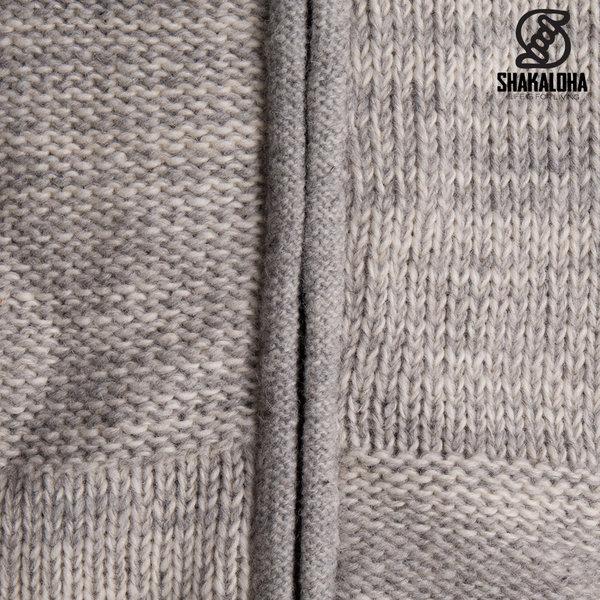 Shakaloha Shakaloha Wolljacke - Strickjacke Buster ZH Beige Hellgrau mit Fleece-Futter und Abnehmbarer Kapuze - Herren - Uni - Handgemacht in Nepal aus Schafwolle