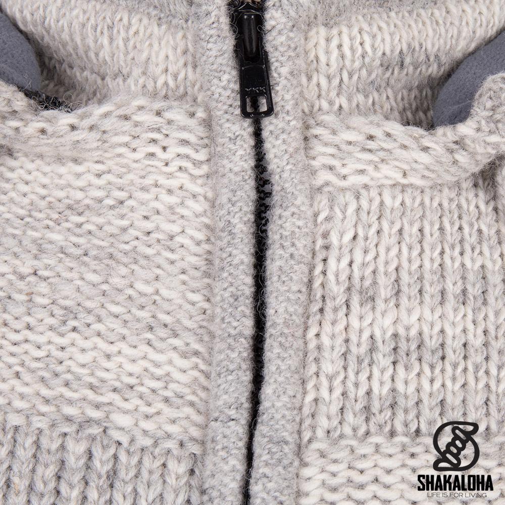 Shakaloha Shakaloha Veste en Laine Tricoté Buster ZH Beige Gris clair avec Doublure en polaire et Capuche détachable - Hommes - Uni - Fabriqué à la main au Népal en laine de mouton