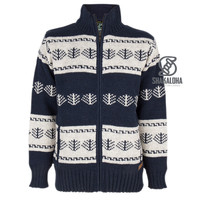 Shakaloha Shakaloha Knitted Woolen Jacket Pine  with Cotton Lining and Detachable Hood - Men - Unisex - Handmade in Nepal from sheep's wool