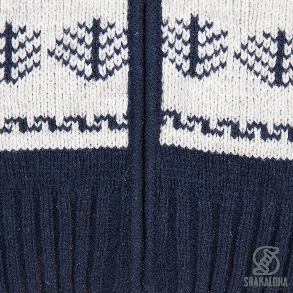 Shakaloha Shakaloha Wolljacke - Strickjacke Pine Marineblau Blau mit Baumwollfutter und Abnehmbarer Kapuze - Herren - Uni - Handgemacht in Nepal aus Schafwolle