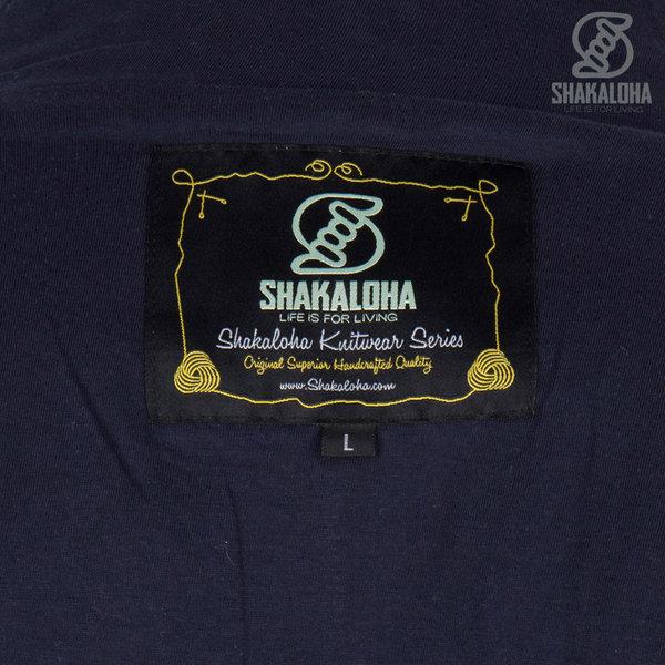Shakaloha Shakaloha Veste en Laine Tricoté Pine Bleu marine bleu avec Doublure en coton et Capuche détachable - Hommes - Uni - Fabriqué à la main au Népal en laine de mouton