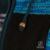 Shakaloha Shakaloha Knitted Woolen Jacket Patch ZH  with Fleece Lining and Detachable Hood - Woman - Handmade in Nepal from sheep's wool