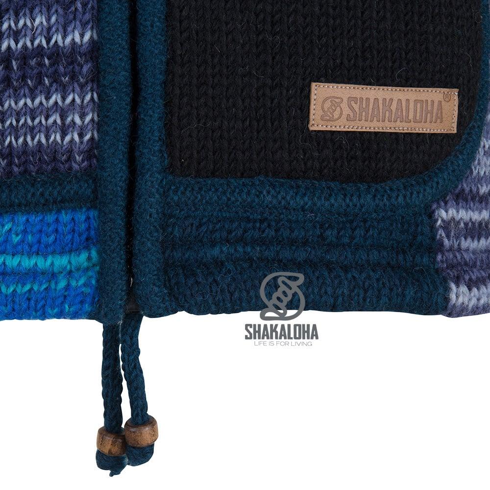 Shakaloha Shakaloha Wolljacke - Strickjacke Patch ZH Blautöne mit Fleece-Futter und Abnehmbarer Kapuze - Damen - Handgemacht in Nepal aus Schafwolle