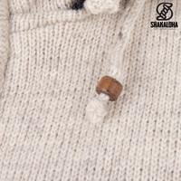 Shakaloha Shakaloha Wolljacke - Strickjacke Crawford ZH Beige Creme mit Baumwollfutter und Abnehmbarer Kapuze - Damen - Handgemacht in Nepal aus Schafwolle